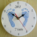 Baby Footprints on a Clock