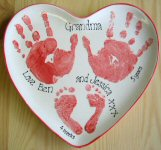 Hand & Footprints on a Heart Plate